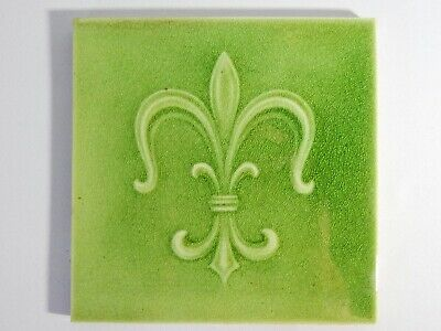 Antique Original England Tile Washstand Fireplace Art Nouveau Fleur De Lis Green