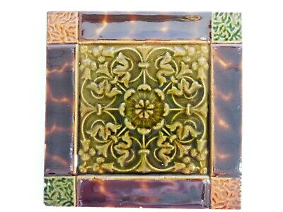 Antique Original England Tile Washstand Fireplace Wash Stand Victorian Majolica