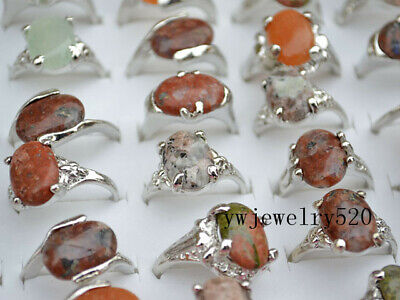 FREE Wholesale Bulk 30ps Assorted Natural Gemstone Silver T Ring Fashion Jewelry