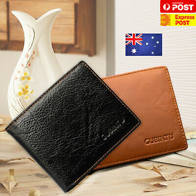 Genuine Leather Mens Purse Anti Scan RFID Blocking Bifold Credit Card Wallet