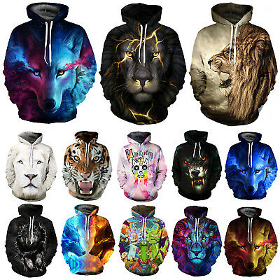 Plus Size Galaxy Wolf Lion Tiger 3D Print Hoodie Sweatshirt Pullover Jumper Tops