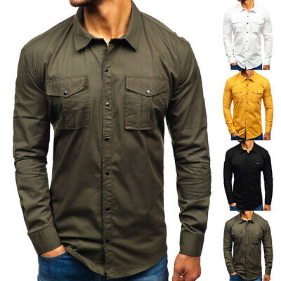 Men Double Pockets Military Shirt Long Sleeve Army Cargo Work Blouse Slim Tops