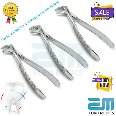 Dental Surgical Tooth Forceps Lower Molars Set Of 3 Dentistry Surgery Lab Tools