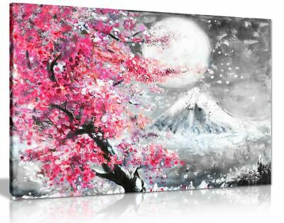 Pink Black & White Oil Painting Japanese Cherry Blossom Canvas Wall Art Print