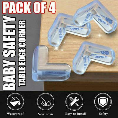 4 x Clear Rubber Furniture Corner Edge Table Cushion Guard Protector Baby Safty