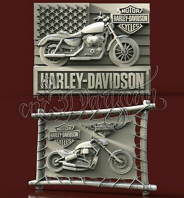 2 3D STL Model Harley Panel Motorcycle CNC Router Carving Machine Artcam aspire