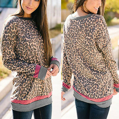 Women Long Sleeve Shirt Leopard Print T Shirt Casual Loose Fit Jumper Casual Top