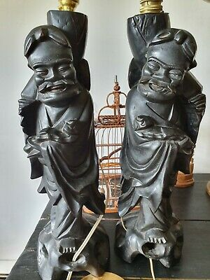 "Pair Antique 16.5""Chinese Root ebonised Wood Carving Wiseman lamp bases, statues"