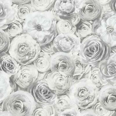 Arthouse Luxury Reverie Silver Rose Motif Quality Wallpaper 623303