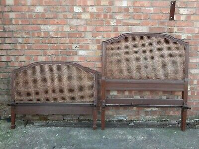 Antique Victorian bergere single bed frame headboard & footboard for restoration