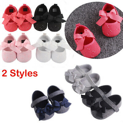 Newborn Baby Girl Boy Bowknot Anti-slip Soft Leater Shoes Sneaker First Walkers