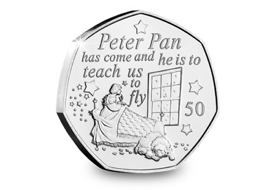 PETER PAN 50p COIN WENDY & NANA 90th ANNIVERSARY NEW RELEASE IN HAND READY TO gO