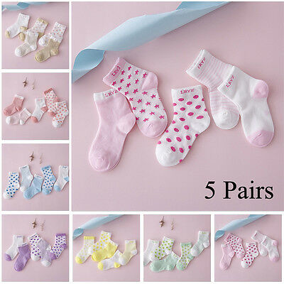 Girls Baby Boy Cartoon Cotton Socks NewBorn Infant Toddler Kids Soft Sock 5Pairs