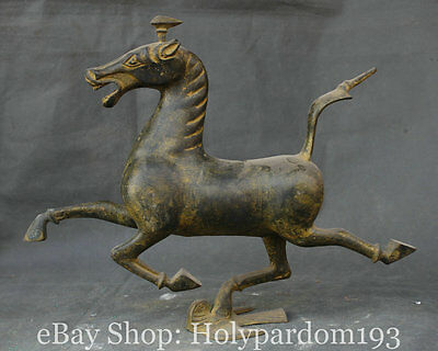 "18"" Chinese China Old Bronze Dynasty Horse riding Chebi Statue Sculpture"
