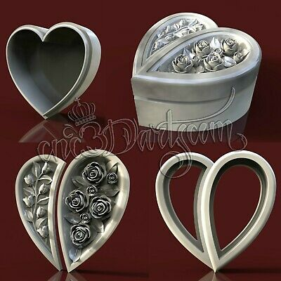 4 3D Models STL CNC Router Artcam Aspire Heart Roses Jewelry Box Cut3D Vcarve