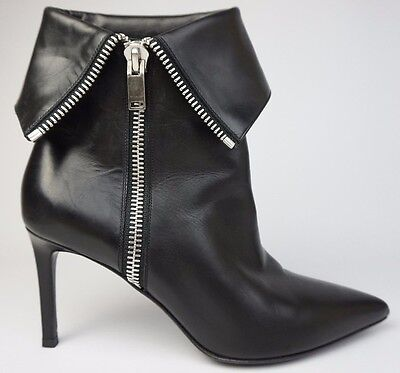 0f8a82f32ab YSL Yves Saint Laurent Paris Janis Zip Ankle Fold Over Black Booties Size  38.5