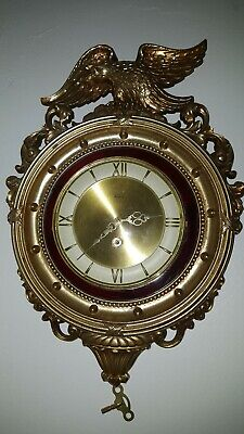 Vintage SYROCO Scrolling Goldtune Wall Clock,with German Empire 8 Day Movement