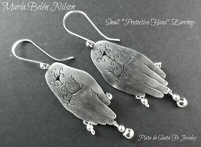 """Taxco Designer~Maria Belen~SMALL  """"PROTECTIVE HANDS""""~ Oxidized Sterling Earrings"""