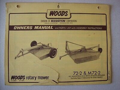 DRAWER 1) WOODS Rm372 Rotary Mower Owners Manual Service