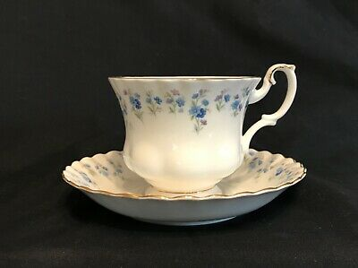 Vintage ROYAL ALBERT Memory Lane TEACUP SAUCER SET White Blue Flowers