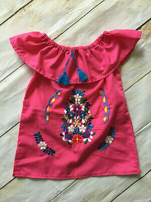 Handmade Girls Embroidered Pink Mexican Dress Size 2T 4T 6 8 Mexico Fiesta Dress
