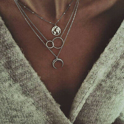 Boho Style Womens Moon World Map Circle Multilayer Silver Necklace Charm Jewelry
