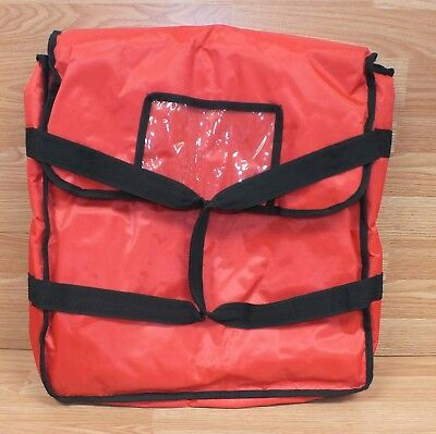 """Unbranded Red & Black 18"""" x 18"""" (inch) Padded Pizza Delivery Bag w/ Strap Handle"""