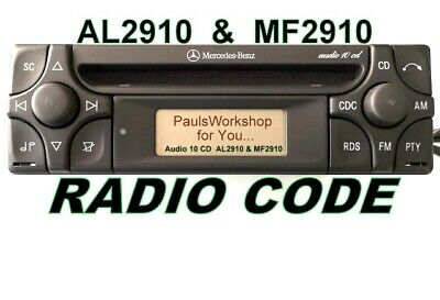 Radio Code für Mercedes Alpine AUDIO 10 CD MF2910  AL2910 KEY CODE