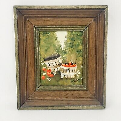 VINTAGE Oil Painting APPLES IN BASKETS Small painting in Wood Frame Red Apples
