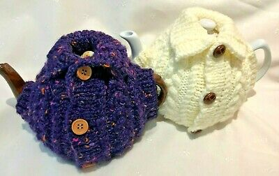 Hand Knitted Aran Cardigan Style Tea Cosy In 2 Colours