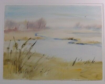 LARGE Stunning  WATERCOLOR BY PAINTER LUCY WELSH - SPRING COLORS AT THE MARSH