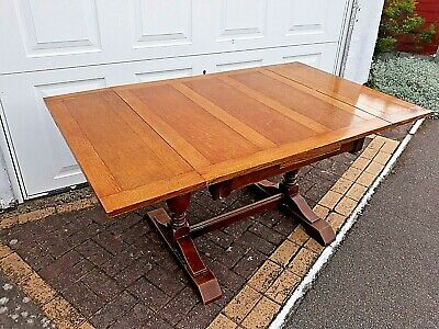 Oak Extending Draw leaf Dining Table Vintage seats 4-6 people