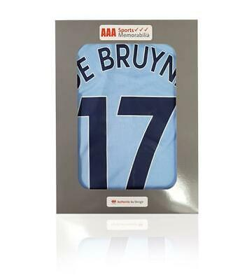 Kevin de Bruyne Hand Signed 2018-19 Manchester City Home Shirt in AAA Gift Box