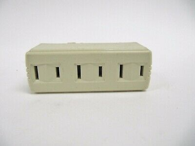6 NEW Eagle Electric Q1747V  Ivory Non-Grounding Three Outlet Tap Adapter