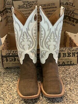 594a1305439 JUSTIN MENS 9D White Brown Bent Rail Western Boots Leather Square Toe WORN  TWICE