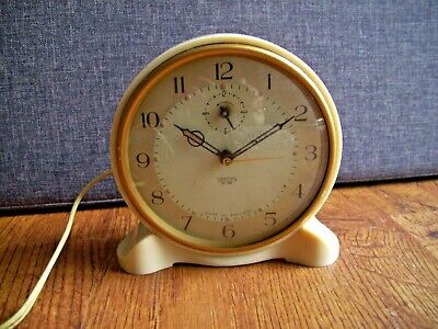 Vintage Smiths Sectric Cream Alarm Clock with Original Wall Plate (Electric)
