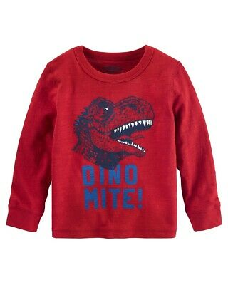 OshKosh B'gosh Baby Boys' Glow in The Dark Dino Tee, Red, 12 Months