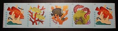 Us Scott # 5367-5370 Coral Reefs Postcard Pn Coil Strip Of 5 Stamps, M Nh