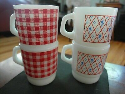 Vintage Termocrisa Coffee Cup Mugs 60's  Flower Pattern & red checkered pattern