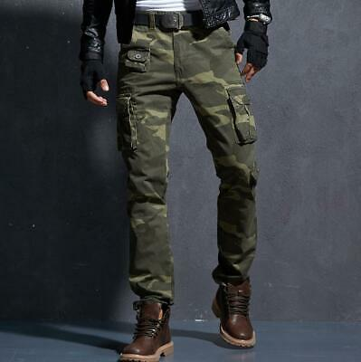 Mens Boys Slim Fit Camo Cargo Pants Military Army Combat Work Outdoor Trousers