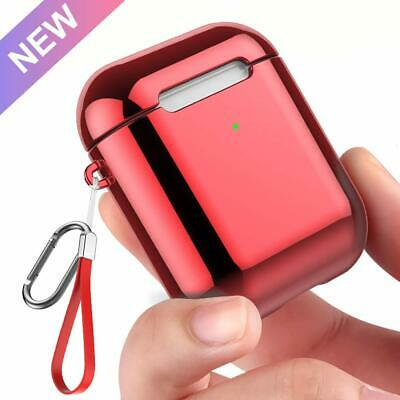 Red AirPods 1st / 2nd Charging Case Soft TPU Plated Shockproof Cover with LED