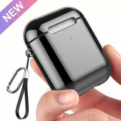 AirPods 1 & 2 Charging Case Soft TPU Plated with LED Shockproof Black Cover