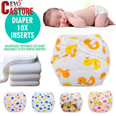 New Adjustable10 PCS+10 INSERTS Reusable Lot Baby Washable Cloth Diaper Nappies
