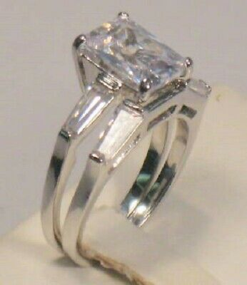 5.50 Ct Emerald cut Diamond Solitaire Engagement Ring Wedding Set White gold ov