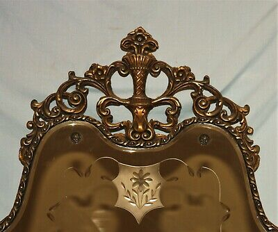 """40"""" Tall Antique or Vintage Gold Gilt Carved Wood Etched Mirror Art Deco"""