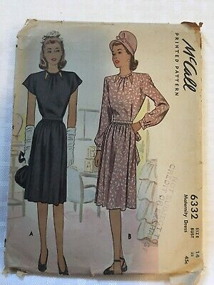 ee1e97ceb8bd4 Vintage 1940s McCall Sewing Pattern Maternity Dress Size 14 Bust 32 1945  Uncut