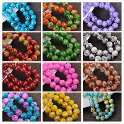 30pcs 10mm Double Color Glass Round Smooth Spacer Loose Charms Craft Beads