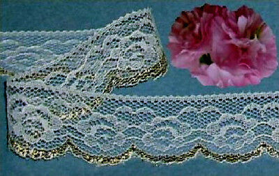 """Gold Lace Trim 12 - 24 Yds x 1-1/4"""" Floral Cream M87V Buy any 3 Trims Get 1 Free"""