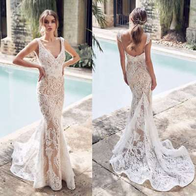 CHAMPAGNE WEDDING DRESSES Mermaid Trumpet Bridal Gowns Plus Size 4 6 ...