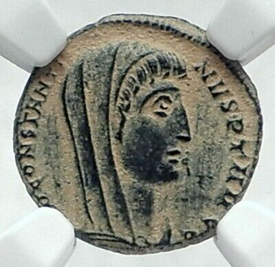 CONSTANTINE I the GREAT Roman Coin POSTHUMOUS Christian Deification NGC i78721